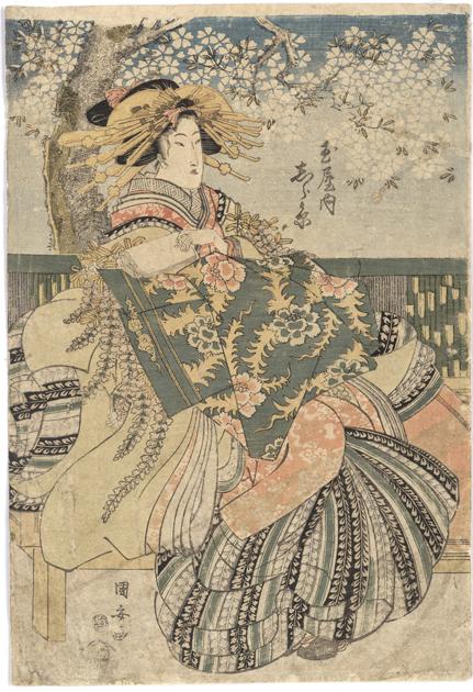 歌川国安-----樱花树下的美人