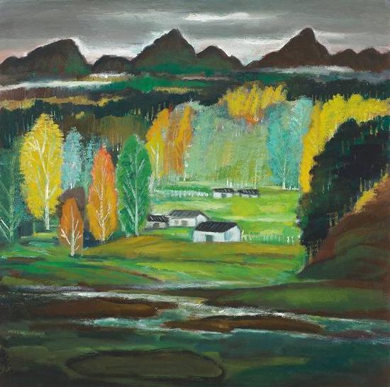 山村,林风眠,油彩画布,约1940-1950年代。来源:香港佳士得
