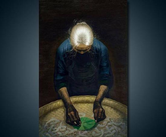 春蚕,罗中立,布面油画,1982年。来源:中国嘉德