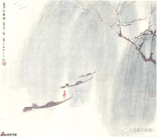 傅抱石山水画代表作_傅抱石/春风杨柳