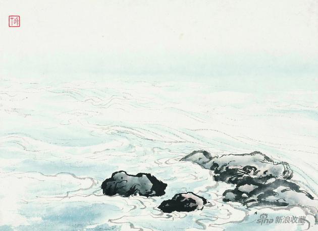 《海水畫法》 25x34.5cm 無年代 紙本設色 嶺南畫派紀念館藏
