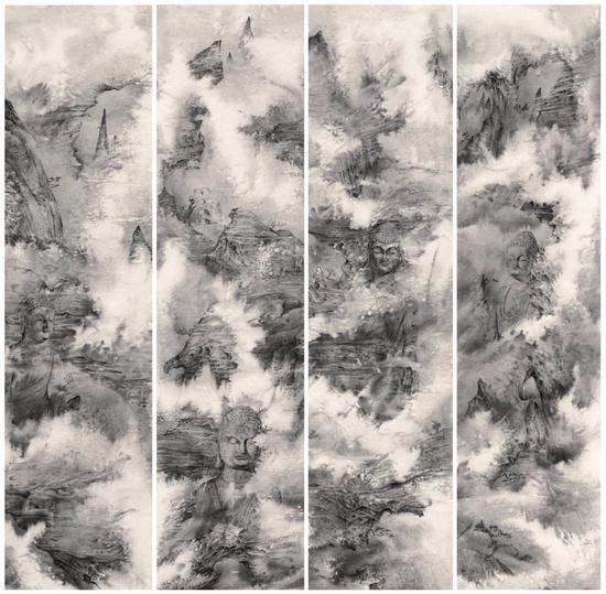 畢可燕 洞天佛地系列 139×35cm×4