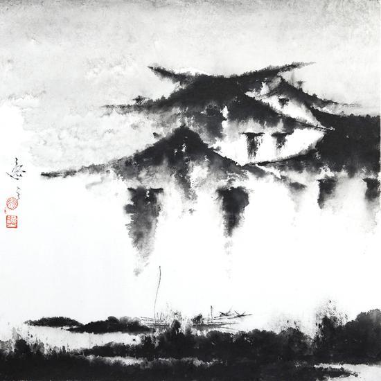 姚逸之 靜靜的河畔 紙本水墨 40×40cm 2019