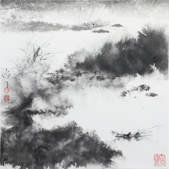 姚逸之 水國生涯 紙本水墨 40×40cm 2019