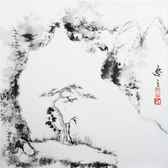姚逸之 仙境 紙本水墨 40×40cm 2019