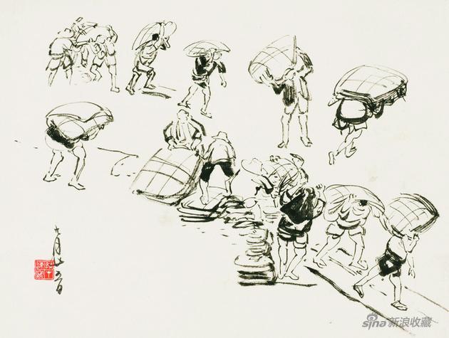 《寫生圖》 50年代 29×37.5cm 紙本水墨 嶺南畫派紀念館藏