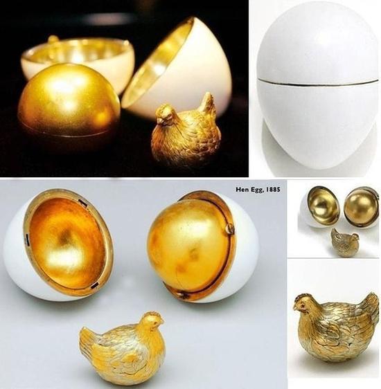 第一枚皇室复活节彩蛋,制于1885年,高6.4cm,?#30452;?#20420;罗斯富豪维克托。斐克塞伯格收藏