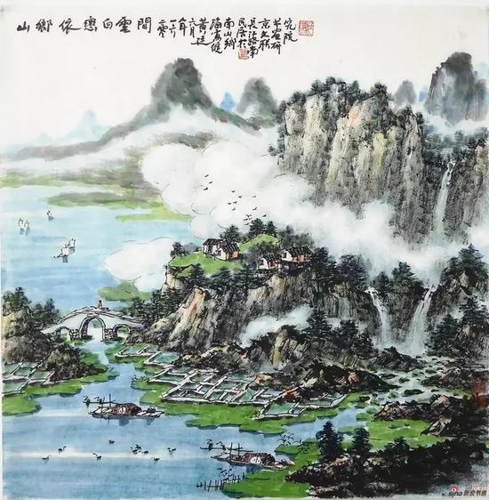 黄廷海山乡依旧恋白云 69x69cm