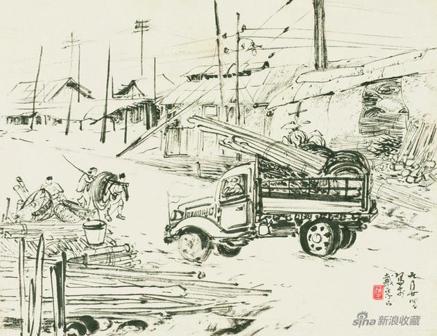 《戴家山速寫》 29×37.5cm 50年代 紙本水墨 嶺南畫派紀念館藏
