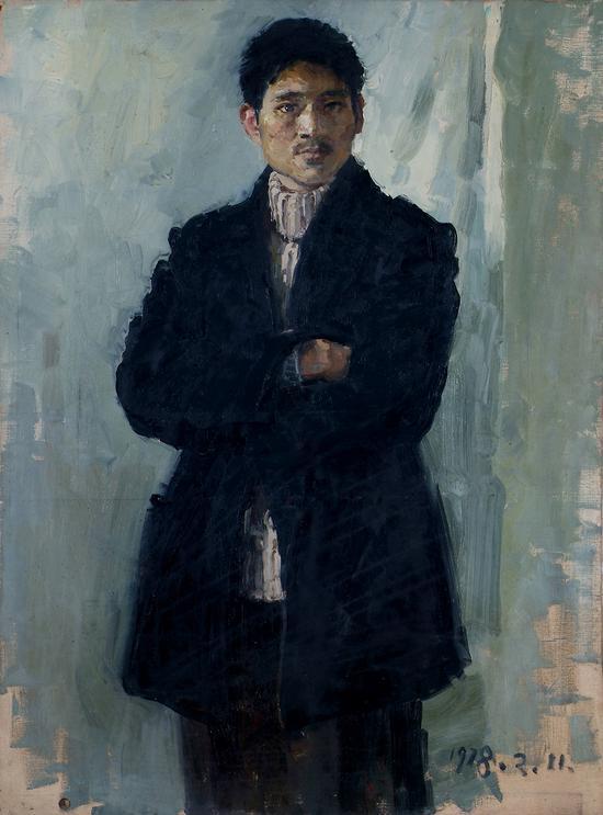 陳丹青%20人物肖像姚%20布面油畫%20%2090×70cm%201978