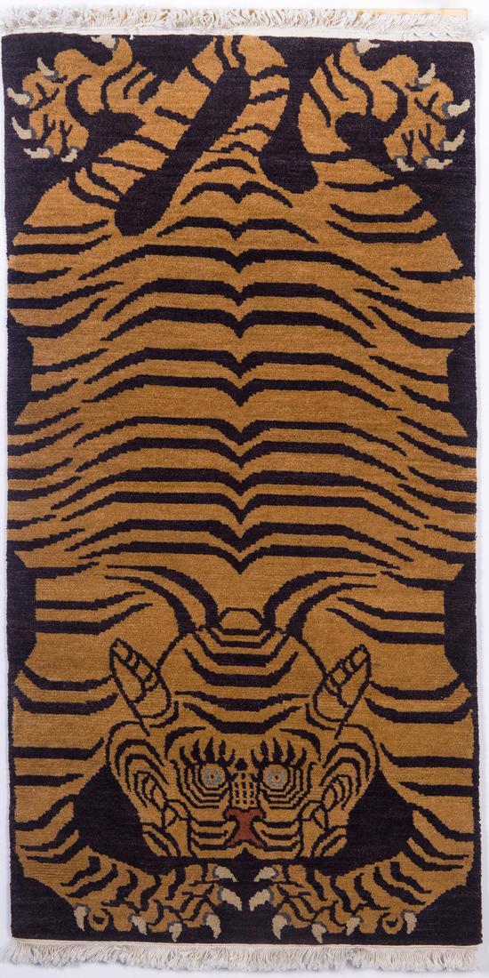 喀瓦堅手工藏毯 虎毯