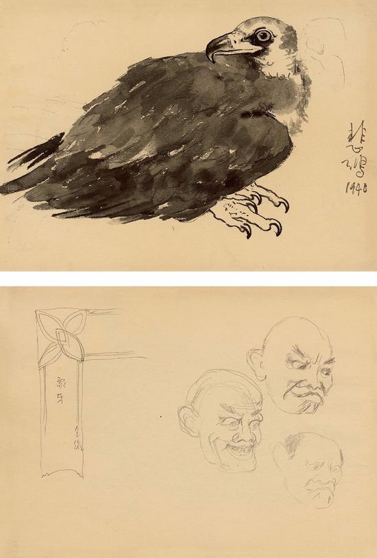 徐悲鴻 靈鷲-2·無題(雙面)