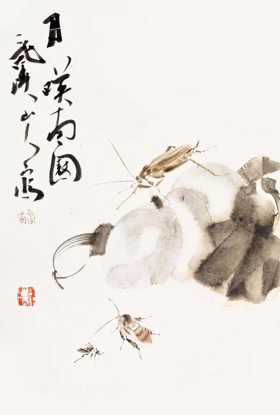 胡石 虫草图册之二 67×45cm 纸本水墨 2017