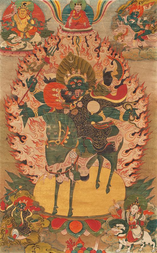 四臂雙身吉祥天母唐卡(18世紀)