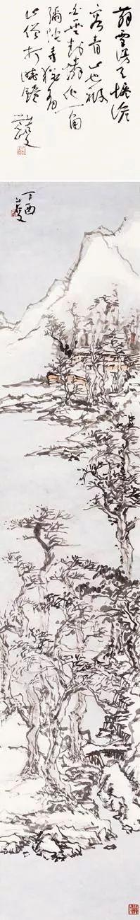 曾三凯 觉山作品 222×48cm 纸本水墨 2017