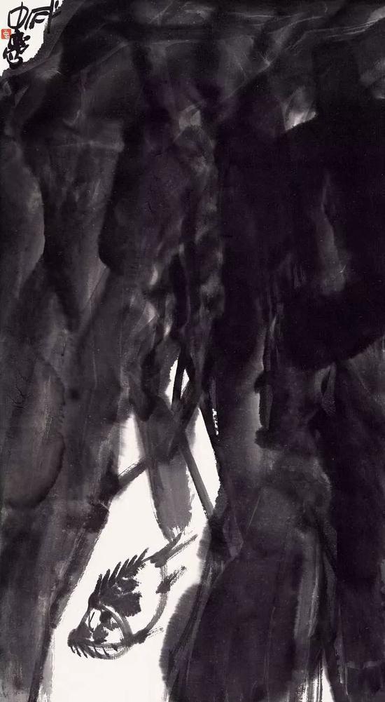 杨中良 雨 77x42cm 纸本墨笔 2019年