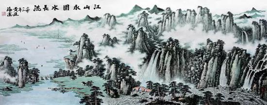 黄廷海江山永固水长流 164x364cm   (2012年黄廷海应邀为北京人民大会堂创作,并被布置收藏)