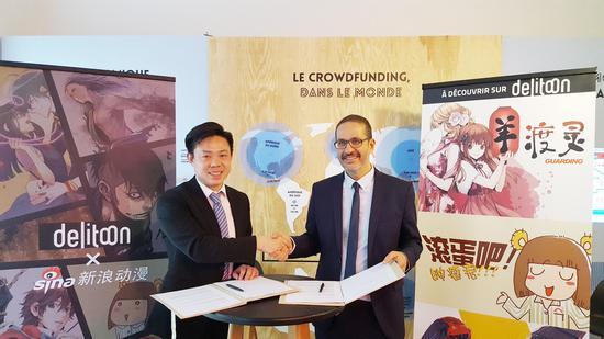 新浪动漫CEO孙玉芊(左), Delitoon CEO Didier Borg(右)