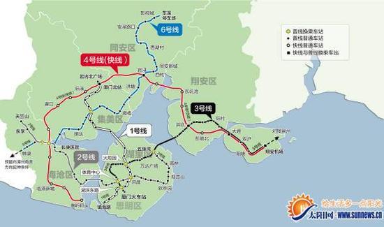 厦门地铁2号规划图_厦门地铁6号线线路公布 穿过海沧集美同安设27个站_新浪闽南_新浪网