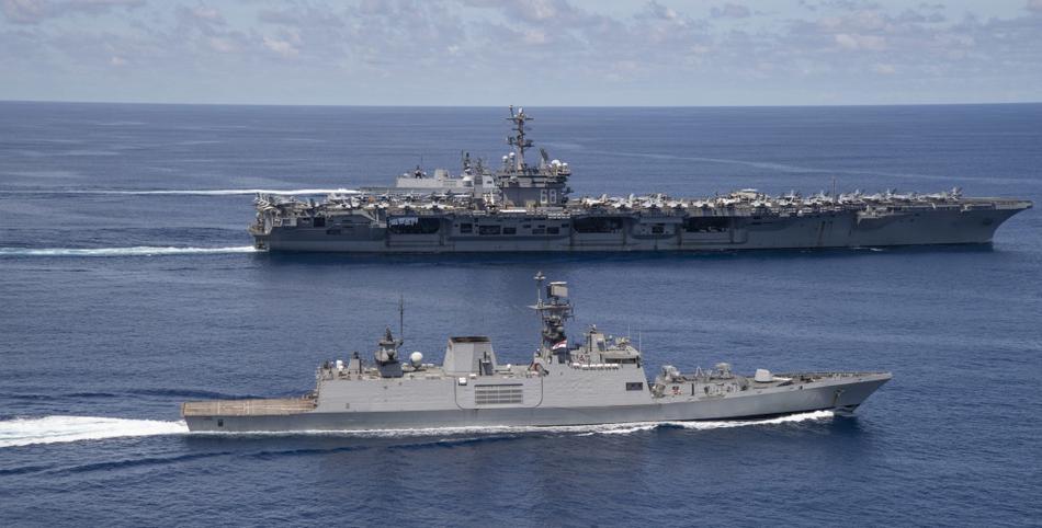 威慑中国?尼米兹航母战斗群与印度海军联合军演