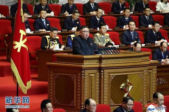 (图片说明:朝鲜劳动党第八次代表大会1月12日会议的现场。新华社/朝中社)
