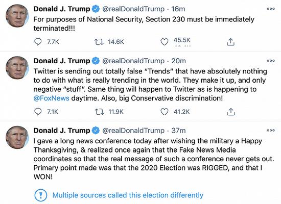 """""""选举操纵""""推文又被贴标签 特朗普炮轰推特:他们编造趋势 全是负面的"""