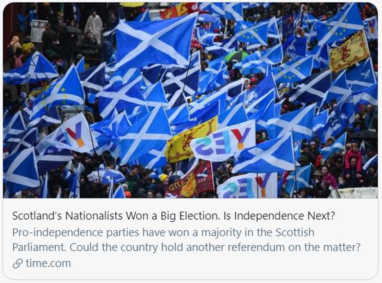 苏格兰民族党赢得选举,接下来苏格兰将走向独立吗?/美国《时代》杂志报道截图