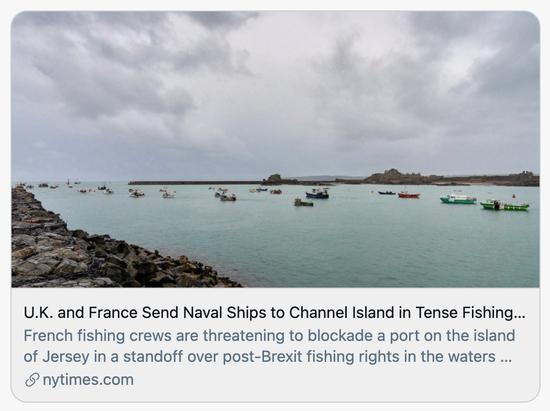 英国和法国在海峡群岛捕鱼纠纷中召集军舰。/《纽约时报》报道截图