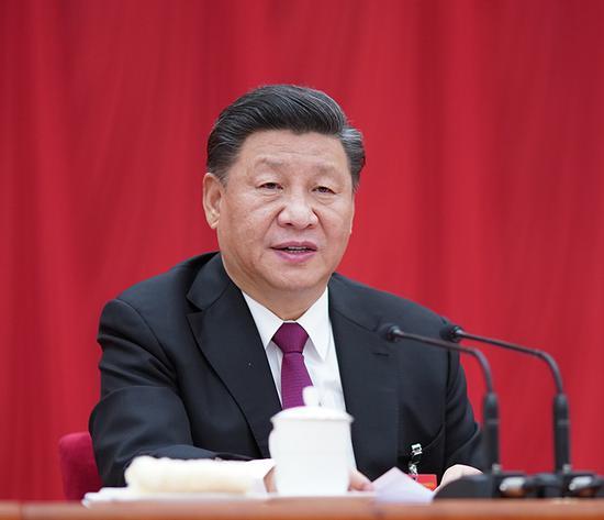 中国共产党第十九届中央委员会第四次全体会议,于2019年10月28日至31日在北京举行。中央委员会总书记习近平作重要讲话。新华社记者 鞠鹏 摄