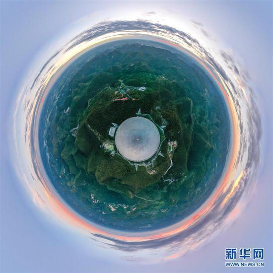 """2019年8月28日拍摄的""""中国天眼""""全景(检修期间拍摄)。 新华社记者 欧东衢 摄"""