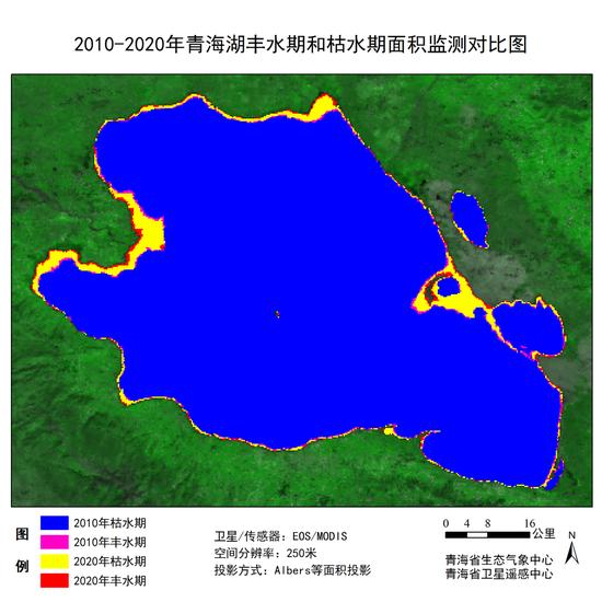 图为2010年至2020年青海湖丰水期和枯水期面积监测对比图。来源:青海省生态气象中心 青海省卫星遥感中心