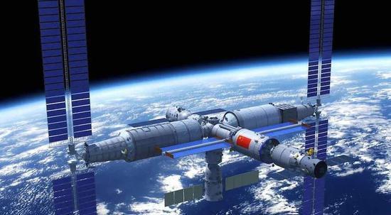 """建成后的""""天宫""""空间站渲染图(图源:国家航天局)"""