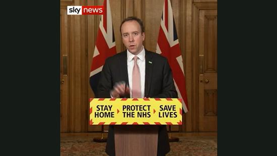 英国卫生部长马特·汉考克(英国天空消息网)