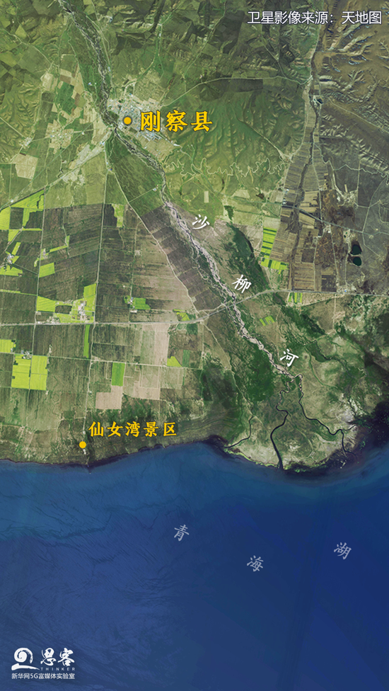 卫星视角下的刚察县及青海湖。卫星影像来源:天地图