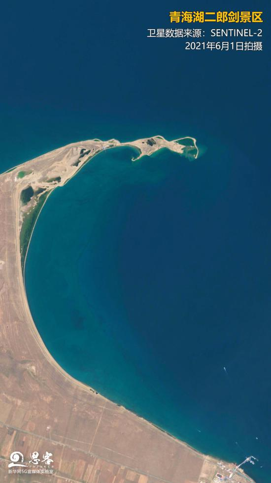 卫星视角下的青海湖二郎剑景区。卫星影像来源:SENTINEL-2