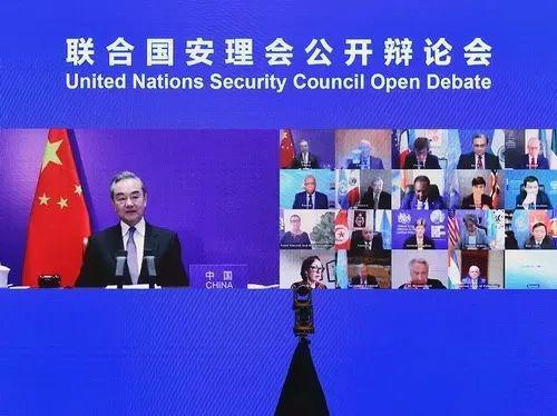 5月16日,王毅主持联合国安理会巴以冲突问题紧急公开会 图:外交部网站