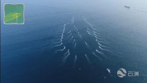 """云洲56艘无人艇在某海域开展多艇协同技术测试,形成""""航母""""图形"""