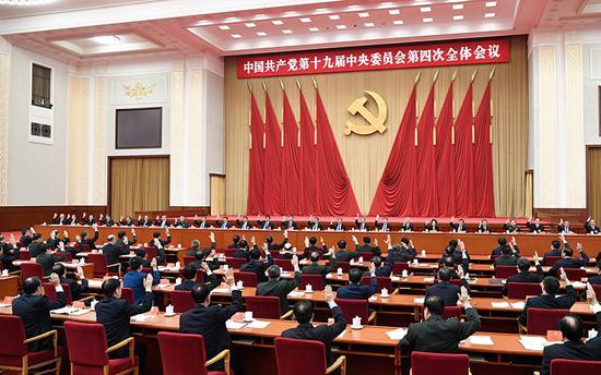 中国共产党第十九届中央委员会第四次全体会议,于2019年10月28日至31日在北京举行。中央政治局主持会议。新华社记者 申宏 摄