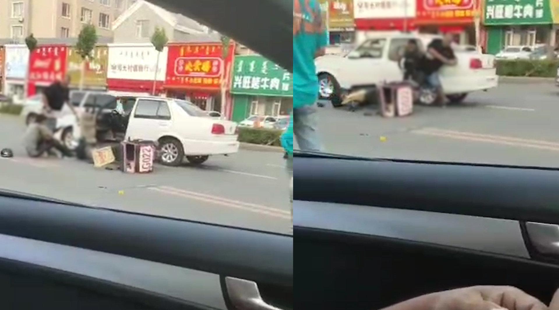 吉林一男子开车撞倒外卖小哥后扯下车牌打人 小哥上前理论又被打倒
