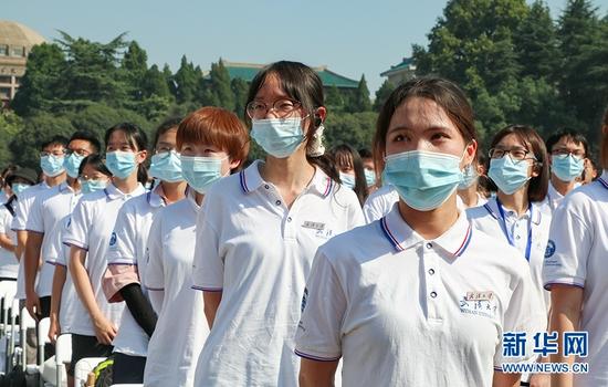 9月12日上午,武汉大学举行2021级本科生开学典礼。新华网发 舒佩摄