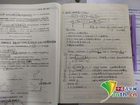 图为曲阜师范大学学生陈宏雪复习笔记。受访者供图
