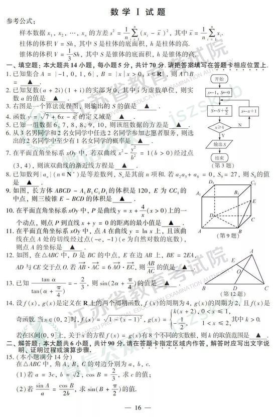 2019年高考數學真題及參考答案(江蘇卷)