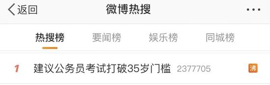 建议公务员考试取消35岁限制冲上热搜第一 网友这样说