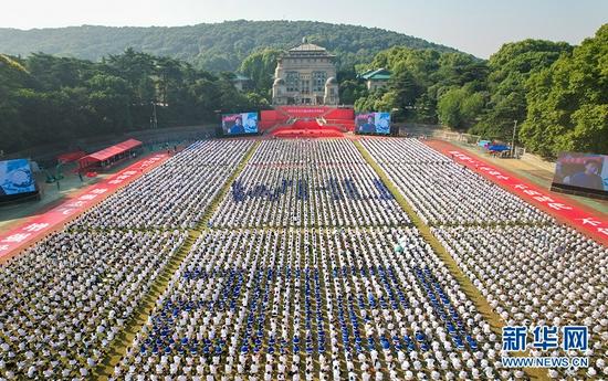 9月12日上午,武汉大学举行2021级本科生开学典礼。新华网发 田春雨摄