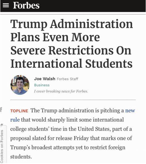 △《福布斯》报道:特朗普政府正在推行一项新规定,该规定将大幅限制一些国际大学生在美国的时间,这是特朗普政府迄今为止在限制外国学生方面最广泛的举措之一。