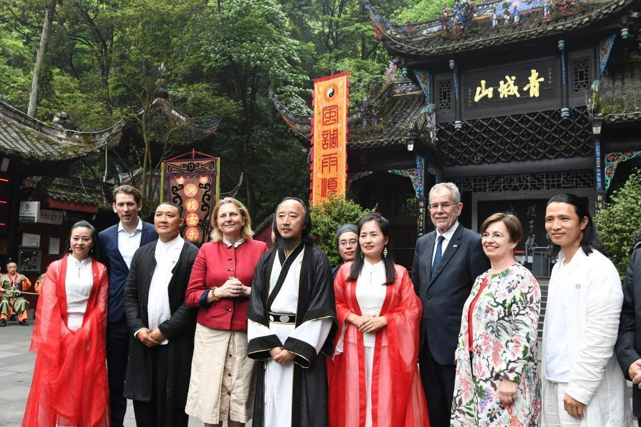 Austrian president and PM visit SW China's Dujiangyan