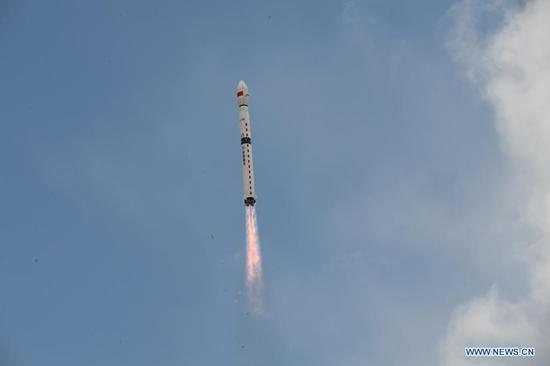 A Long March-4B rocket carrying the Haiyang-2D (HY-2D) satellite blasts off from the Jiuquan Satellite Launch Center at 12:03 a.m. (Beijing Time) in northwest China, May 19, 2021. China sent the new ocean-monitoring satellite on Wednesday into orbit from the Jiuquan Satellite Launch Center in northwest China. (Photo by Wang Jiangbo/Xinhua)