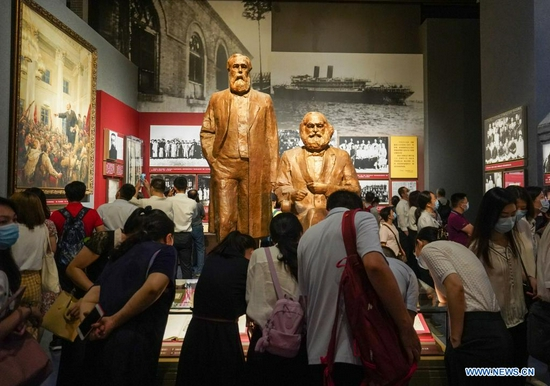 People visit the Museum of the Communist Party of China (CPC) in Beijing, capital of China, July 15, 2021. Located in the Chaoyang District of Beijing, the Museum of the CPC opens to the public from July 15 and accepts online appointments for free visits from 9 a.m. to 5 p.m. (Xinhua/Chen Yehua)