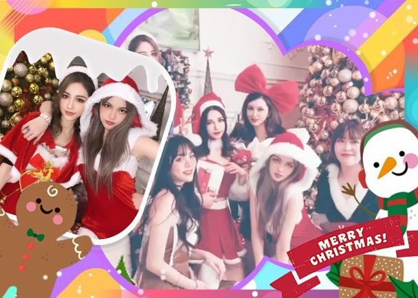 组图:周扬青和闺蜜一起庆祝圣诞 连换两套衣服可爱又性感