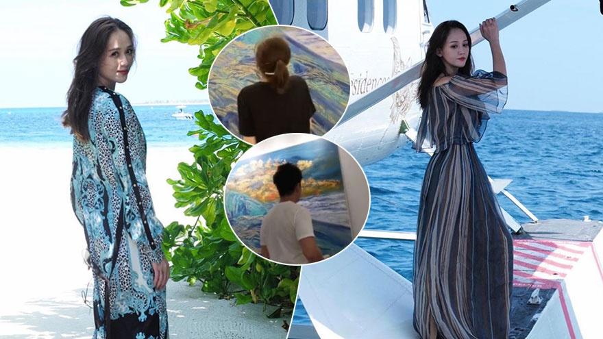 陈乔恩艾伦浪漫旅行海边度假 互晒作画视角恩爱甜蜜